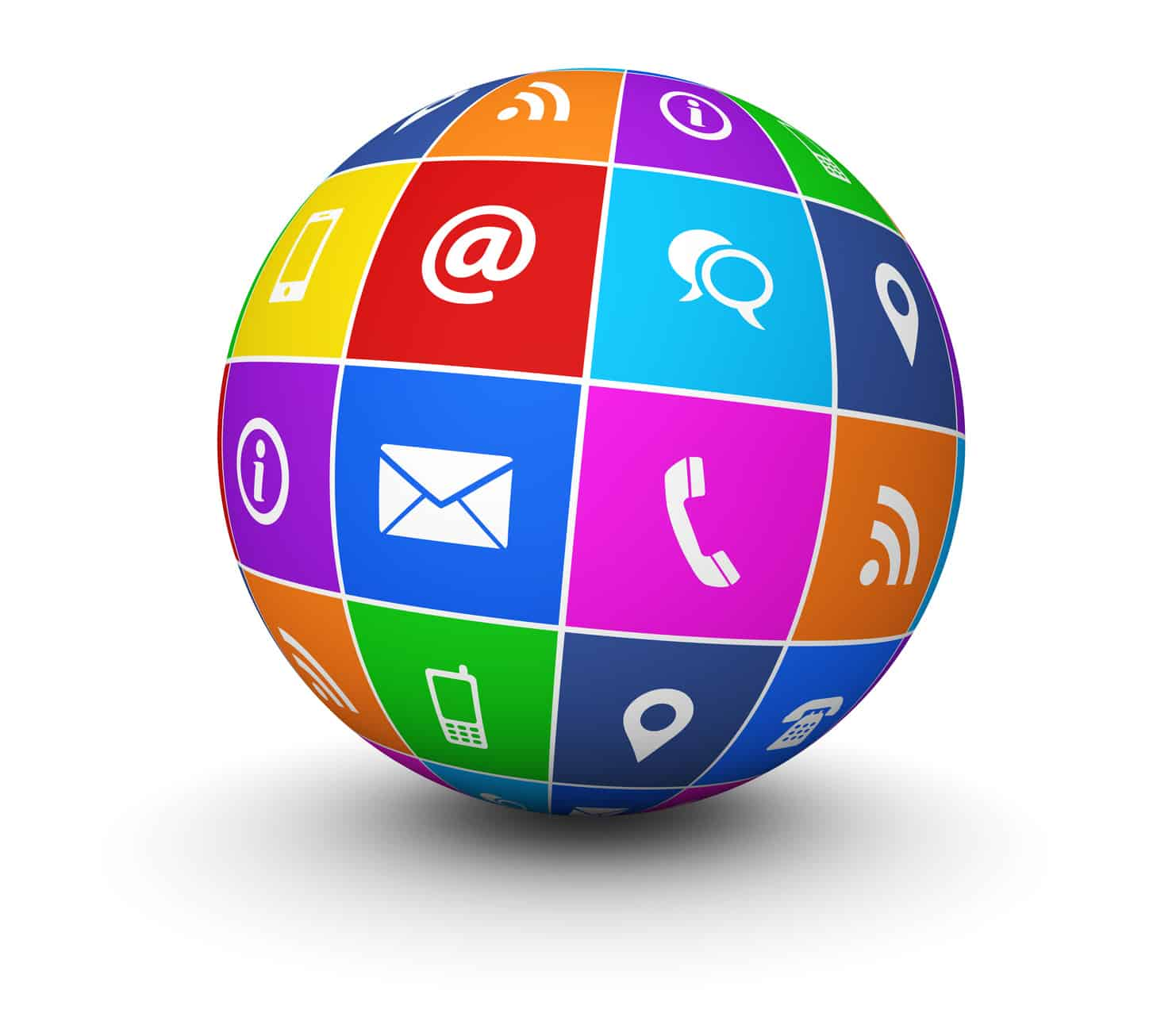 Website and Internet contact us web icons and symbol on a colorful globe for blog and online business illustration on white background. E-MAIL MARKETING
